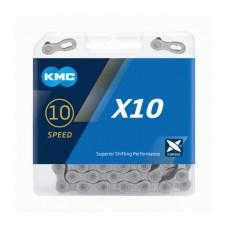 Ланцюг KMC Х10 10 швидкостей сірий 114 ланок + замок cірий