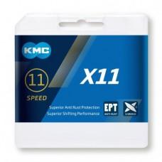 Ланцюг KMC Х11 11 швидкостей 114 ланок + замок срібний/чорний