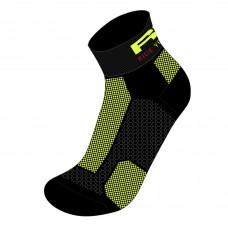 Шкарпетки R2 Easy колір чорний неоновий жовтий розмір S (35-38)